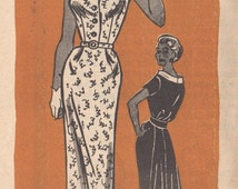 1950s Mail Order Marian Martin 9377 Misses Sexy Dress Pattern Shirtwaist Flared Back Womens Vintage Sewing Pattern Size 14 Bust  34 UNCUT