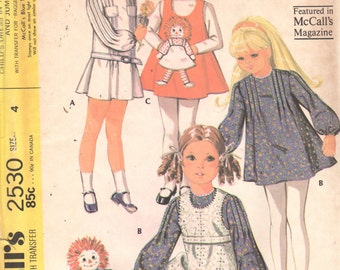 McCalls 2530 1970s Toddlers Tucked Dress and Jumper with Raggedy Ann Pocket Pattern Girls Vintage Sewing Pattern Size 4 Breast 23 UNCUT