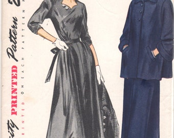 1940s Simplicity 2966 Misses MATERNITY DRESS and Swing Jacket Pattern Womens Vintage Sewing Pattern Size 16 Bust 34 UNCUT