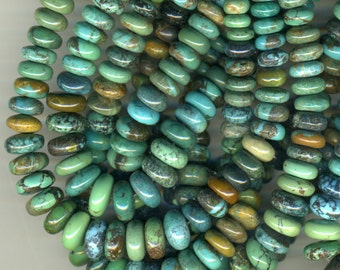 """TURQUOISE 4-10mm Graduated Rondelles  Natural Stone Mixed Hues 16"""" strand"""