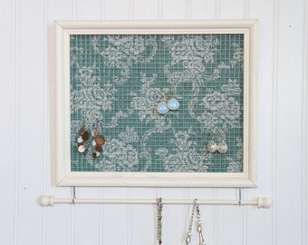Antique White Framed Jewelry Organizer- Upcycled 8x10 Picture Frame