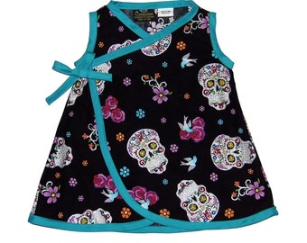 Sugar Skull - Tattoo Clothes - Skull Clothes - Girls Dress - Punk Rock - Kimono Dress - Day of the Dead -  Toddler Dress - 4t - 5t - 6