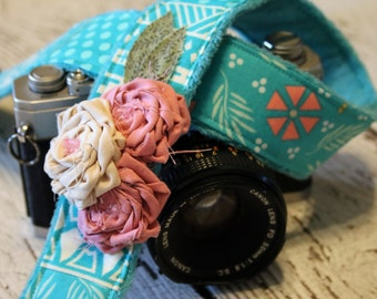 Camera Strap. Cute Camera Strap. dSLR Camera Strap. Turquoise Camera Strap. Padded Camera Strap. Digital Camera Strap. Gift For Her