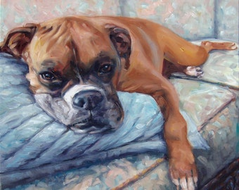 """CouchPotato, custom Dog Paintings, Pet Portraits, Paintings in Oils by puci, 10x10"""""""