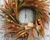 Fall Wreath for Door, Fall Grass Wreath, Country Fall Door Wreath, Fall Flower Wreath, Fall Wreaths