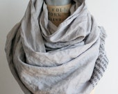 048 pale gray linen text poetry scarf , printed scarves, long wraps and shawls holiday gifts, women's fashion accessories