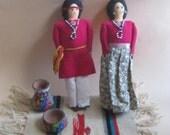 American Indian Dolls Pair Handmade Vintage