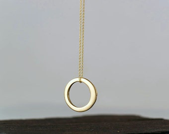 Solid Gold Karma Necklace 14k gold Full Moon Necklace Simple Necklace White Gold Circle Rose Gold Gift Women