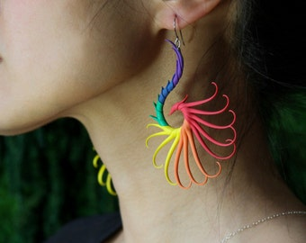 Rainbow Large Swoop Earrings