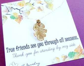 Friendship necklace, Gold dipped leaf necklace, best friend necklace, bff necklace, oak leaf, fall leaves, real leaf jewelry, briguysgirls