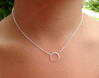 Silver circle layering necklace, minmal necklace, eternity necklace, karma necklace, bridesmaid jewelry, friendship necklace, briguysgirls