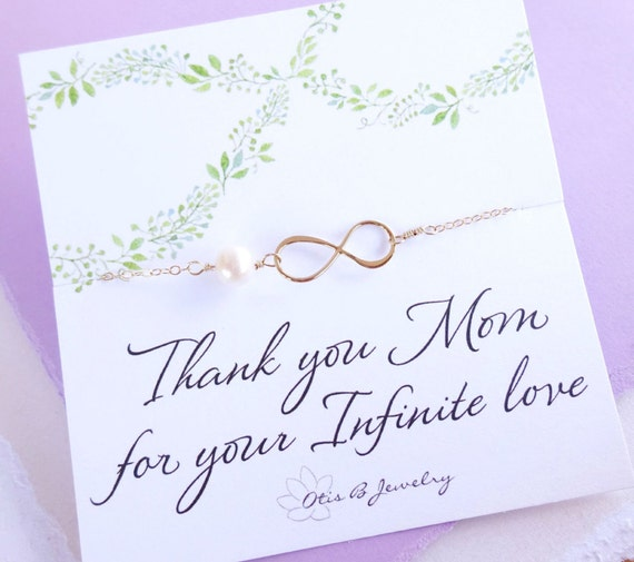 Mother of the bride gift, mother of the groom gift, mother in law gift, infinity necklace, gifts for mom, pearl necklace, infinity jewelry