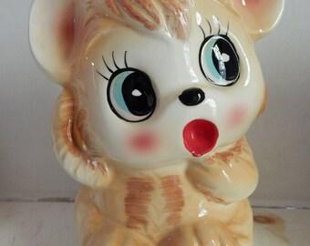 Vintage Ardco Dallas TX Big Eye Brown Bear Ceramic Baby Planter Child