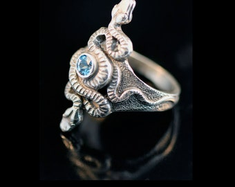 Snake Ring Silver Serpent Ring Snake Jewelry Serpent Jewelry Alpha Omega Snake Ring With Gemstone Silver Snake