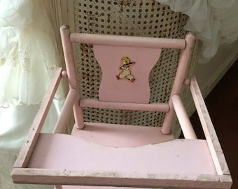 Vintage Shabby Chic Pink Doll High Chair - Nursery Decor