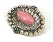 Art Deco Brooch Silver Smoke Rose Art Glass Filigree Pin Antique Vintage Jewelry