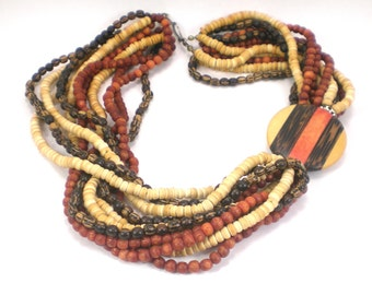 Multi Strand Wood Necklace Colorful Boho Hippie Vintage Jewelry