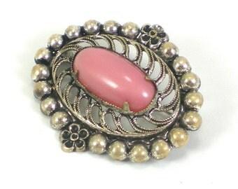 Art Deco Brooch Silver Smoke Rose Art Glass Filigree Pin Antique Vintage Jewelry