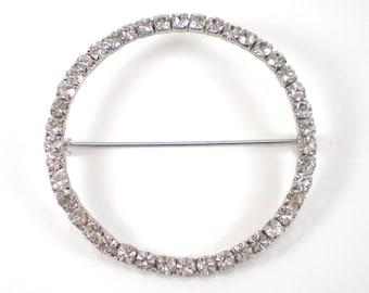 Rhinestone Brooch Pin - Large Oversized Brooch - Circle Geometric Brooch - Bridal Vintage Minimalist Jewelry