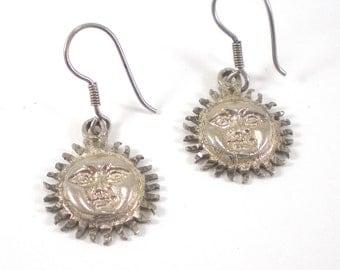 Vintage Sun Earrings  - Sterling Silver Sun - Celestial Earrings - Pierced Vintage Earrings - Sun Charm