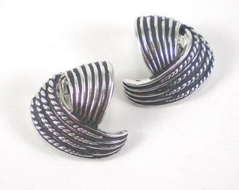 Abstract Silver Rope Earrings - Vintage Marboux 585 Clip On Jewelry