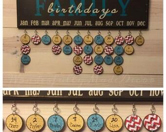 Family Birthday Board . Family Birthday Sign . Special Dates . Family Celebrations . Family Birthday Wall Hanging