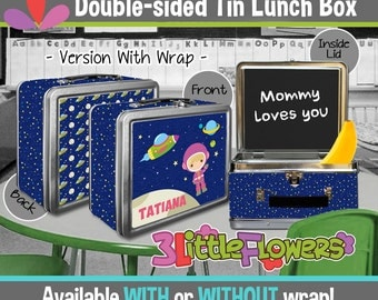 Personalized Astronaut Lunchbox - Personalized Metal Lunch Box Chalkboard inside - Double-sided Tin Lunch Box - Girl Outer space Lunch Box