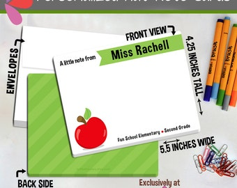 Teacher Note Cards - Set of Personalized Note Cards - Double-Sided and Printed Cards - Apple Teacher Personalized Stationery - Teacher Apple
