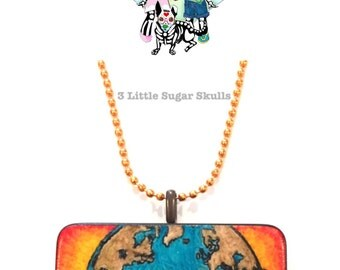 Save Our Planet Altered Domino Pendant Necklace