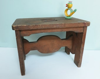 Rustic Wooden Foot Stool, Handmade, Sturdy with a Carry Handle and Primitive Wooden Peg Construction