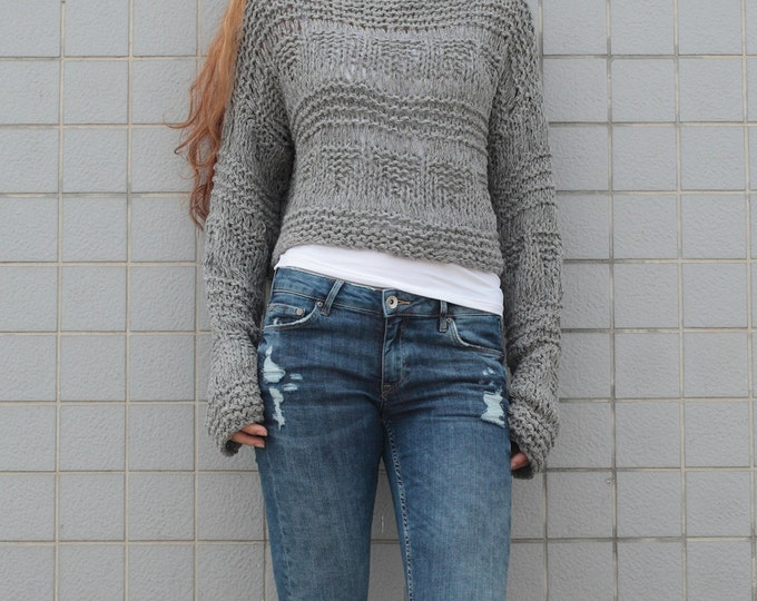 Hand knit sweater wool woman sweater cropped sweater Grey pullover sweater