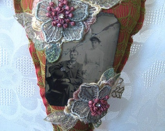Hanging heart wall decor, mixed media, antique tintype photo