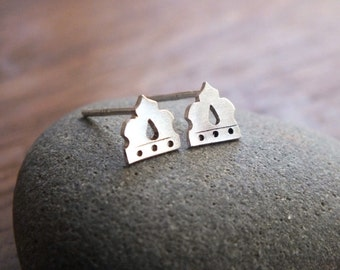Moresque stud earrings - tiny sterling silver Moroccan studs