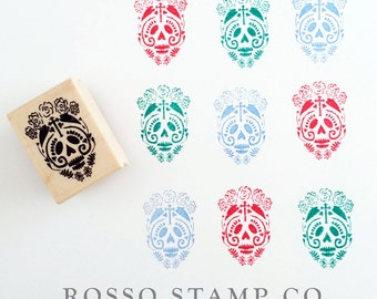 Sugar Skull Stamp - Halloween Stamp - Day of the Dead Stamp