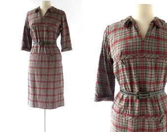 1950s Plaid Dress / Abercrombie and Fitch / 50s Dress / 1950s Dress / Medium M