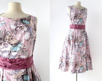 1950s Vintage Dress | Pink Hibiscus | Floral Print Dress | 50s Dress | Medium M