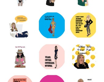 "Real housewives of NY OC & NJ Combo Sheet Funny Round Glossy stickers 2"" Diameter Sheet of 12"