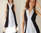 Draped 70s Dress Vintage 70s Black and White Color Block Draped Knit Disco Boho Dress (m l)