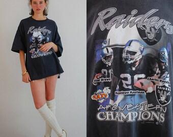 Raiders Football Tee Vintage Faded Black RAIDERS AFC Western Champions Football T Shirt (one size)