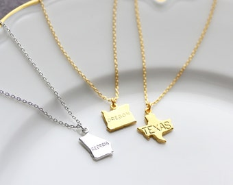 State Necklace, Gold or Silver All 50 States Charm Custom Bridal Personalized Bridesmaid Gift Wedding State Pride Necklace Minimal