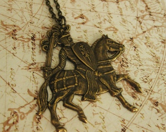 Knight Necklace Sir Lancelot Knight in Shining Armor Necklace Medieval Brass Horse Equestrian Medieval Knight Jewelry Renaissance Romantic