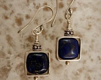 Lapis Silver Framed Dangle Earrings