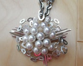 Vintage Sterling and Pearl Cluster Brooch / Necklace Combo