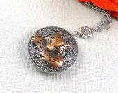 Sleeping Fox, Silver Fox Locket, Fox, Fox Necklace, Fox Locket, Woodland, Woodland Locket, Silver locket
