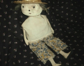 Folk Art Primitive Little Springtime Doll With Basket
