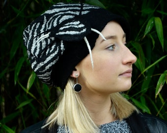 Black felt hat Handmade zebra hat felted beanie felt cap wool nunofelt hat warm winter fashion ooak hat nunofelt hat
