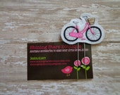 Planner Accessories - White, Black, And Hot Pink Bicycle With A Brown Flower Basket Embroidered Felt Paperclip Or Bookmark