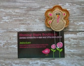 Planner Clips - Brown Thanksgiving Peacock Turkey With Hot Pink, Orange, And Gold Feathers Paper Clip Or Bookmark - Fall Holiday Accessory