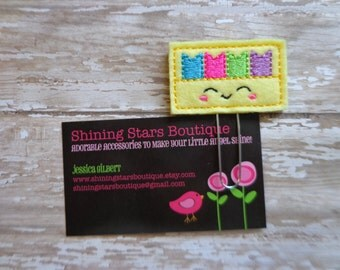 Fun Planner Clips - Light Yellow Smiley Face Box With Rainbow Planner Page Flags Paper Clip Or Bookmark - Accessory For Books Or Notebooks
