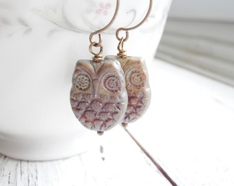Czech Glass Owl Earrings - Fall Trends - Woodland Jewelry